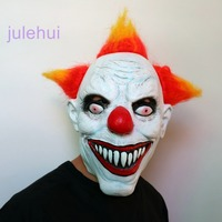 Killer Clown Mask Adult Mens Latex Orange Hair Halloween Prank Pennywise Evil Scary Fancy Dress