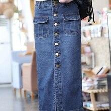 Más el tamaño vendimia bordea las mujeres 2016 verano estilo coreano  vestido feminina Denim jeans falda de un solo pecho para la. 6ebbf75e8de4