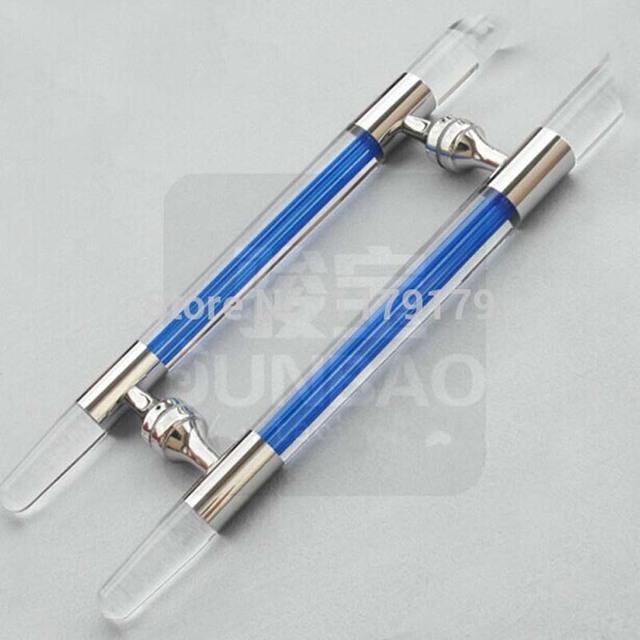 530mm de alta qualidade de cristal Azul puxar porta maçaneta da porta de madeira de vidro de prata Ktv, Escritório do hotel porta alças puxa portão grande alça