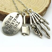 Hot Selling Movie The Walking Dead Pendant Necklace Hand Stamped Axe Walker Charms Necklace(China)