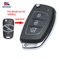 KEYECU Replacement Upgraded Flip Remote Car Key Fob 3 Button 433MHz ID46 for KIA K2 2015 P/N: 95430 4X150