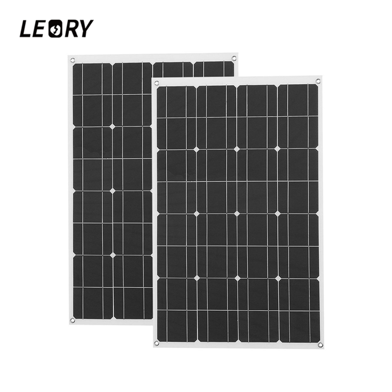 LEORY 2Pcs 12V 80W Semi Flexible Solar Panel Monocrystalline Solar Cells With 1.5m Cable