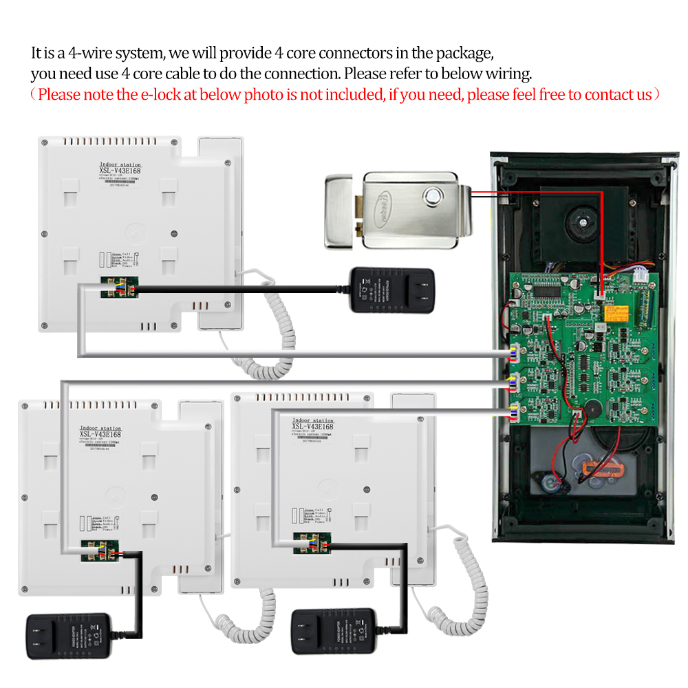 43 Inch Color Wired Video Intercom Door Bell Rfid Camera With 3 Wiring Monitors Ir Doorphone Support Em Lock For Multi Home Apartments In From