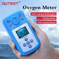 OUTEST кислорода (O2) детектор Концентрация мини кислорода метр O2 тестер газоанализатор с ЖК дисплей Дисплей и звук световой сигнализации