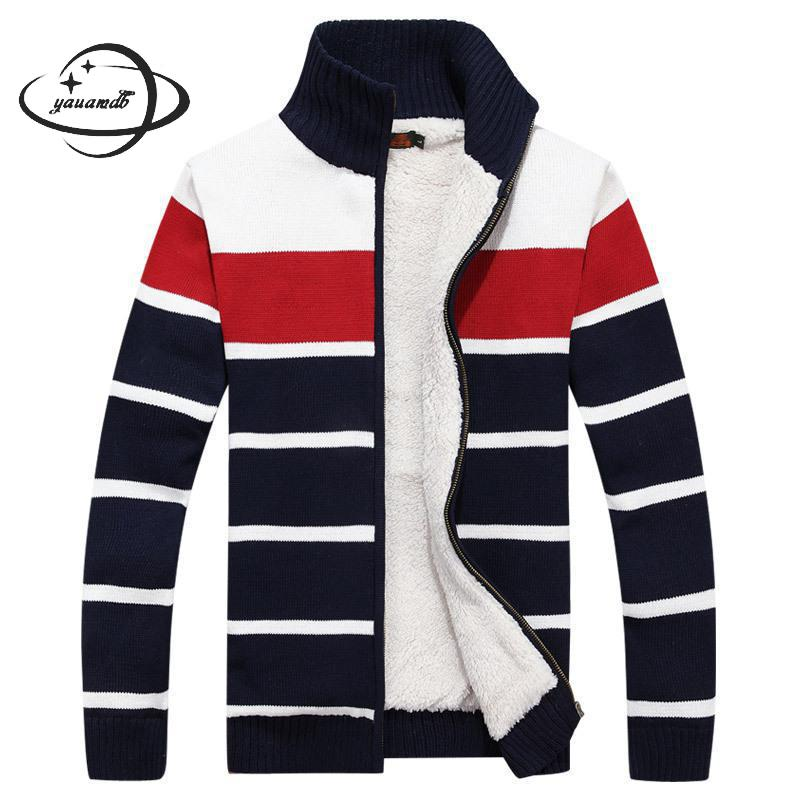 YAUAMDB men sweaters 2018 winter knitted M-3XL femal zipper striped cardigan knitwear clothing cashmere man warm clothes y99