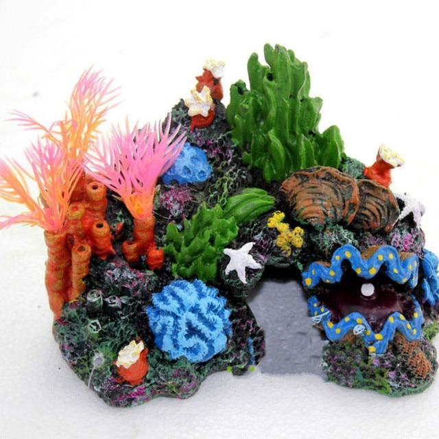Resin artificial aquarium coral reef decoration fish tank for Artificial coral reef aquarium decoration