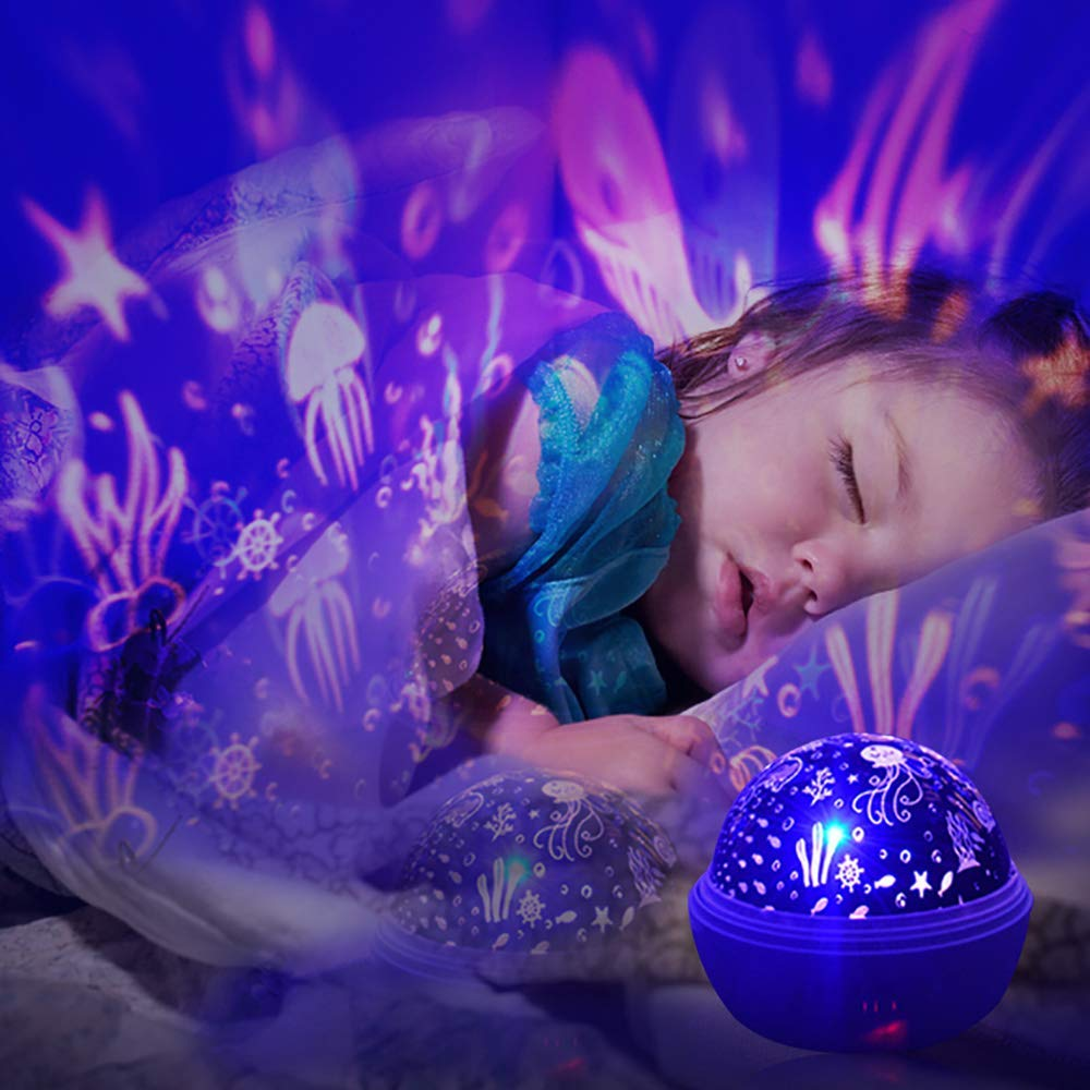 Rotating Star Projector Night Light Luminaria Ocean Lamp Baby Night Sleeping Nursery Lamp For Baby Kids Christmas Gift