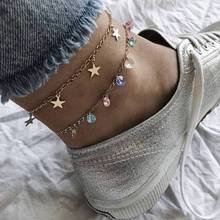 European and American fashion tide female colored rhinestone personality five-pointed star multi-layer anklet set