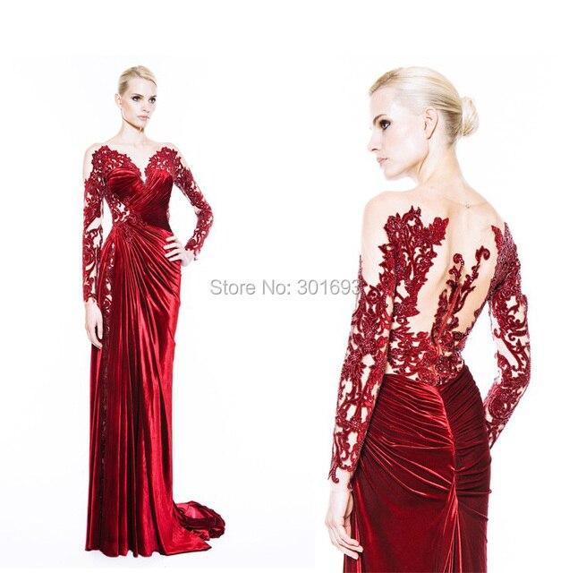 2015 New Models ONE211 Red and Nude High Side Slit Long Sleeve Velvet Evening  Dresses 2c44c8e043c3