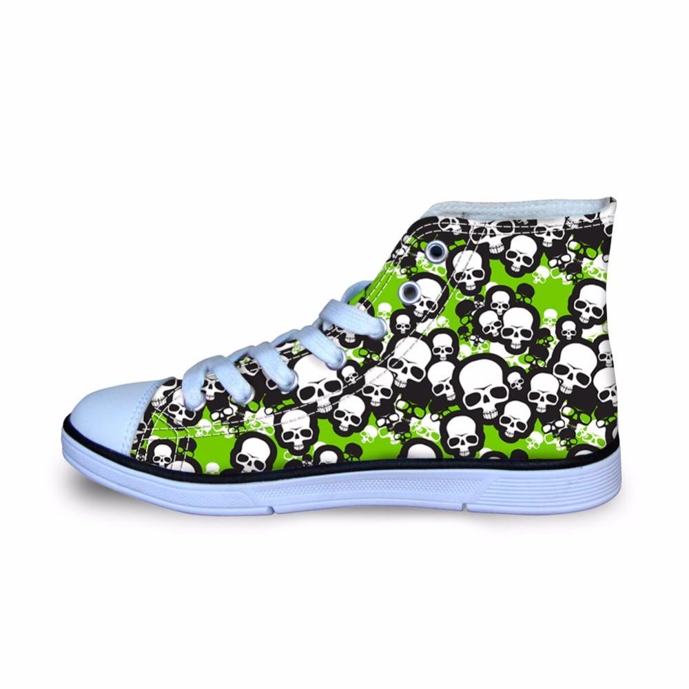 HYCOOL cráneo impreso niños zapatos deportivos niños zapatillas de Running  al aire libre para caminar diario niños alto Top zapatos de lona  transpirable en ... b37585effadb9
