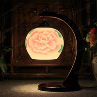 Antique Decorative Porcelain Table Lamp Vintage Ceramic Rustic Style Lampshade Living Room Bedroom 110 220V Desk