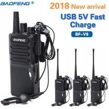 Baofeng Walkie Talkie portátil de 5W, 4 Uds., BF V9 USB, 5V, carga rápida, UHF 400 470MHz, Ham CB, Radio, actualización de BF 888S