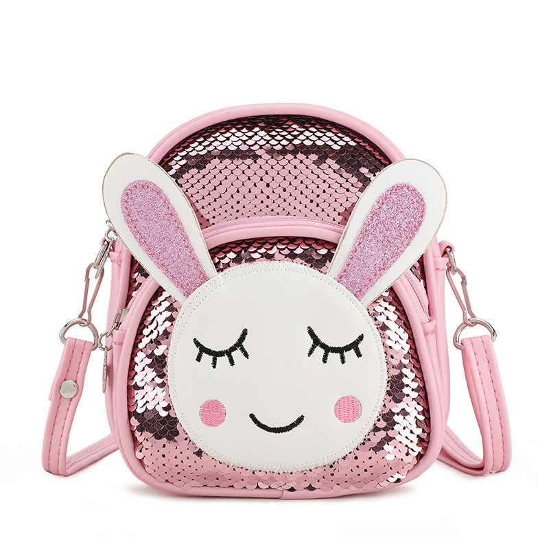 Cute baby girl mini school bag cartoon rabbit sequin backpack portable fashion small shoulder bag