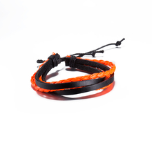 Hot Sale 2017 Fashion Simple Style Bracelet Rope Braided Leather Chain Unisex Cuff Orange Bracelets Couple Bracelet Jewelry Gift