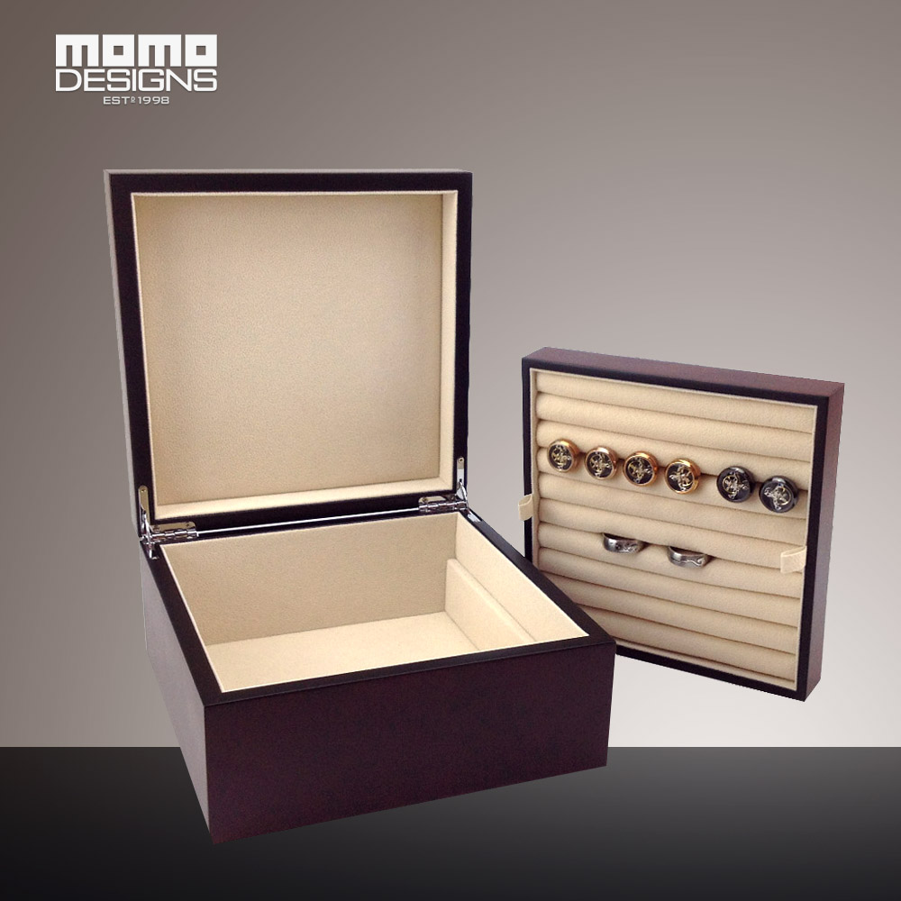Wooden cufflink storage box burlwood Ring box Showcase display high quality Jewelry collection case