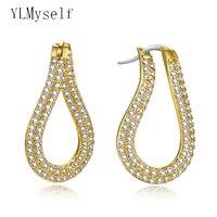 New Look Irregular Hoop Earrings micro pace Cubic Zirconia jewelry White & Gold color Women Hoop Earring