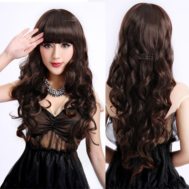 Ladies Long Curly Wavy Heat Resistant Cosplay Wig Women Natural As Real  Hair Black Synthetic Wigs With Bangs Perucas Pelucas 3ce5133aa