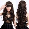 Manga comprida Curly ondulado resistente ao calor peruca Cosplay mulheres Natural como Real cabelo preto Perucas sintéticas com franja Perucas Perucas
