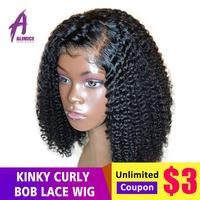 Short Bob Kinky Curly Wig 13*4 Lace Front Human Hair Wigs Preplucked Hairline Brazilian Remy Hair Lace Wig Alimice Natural Black