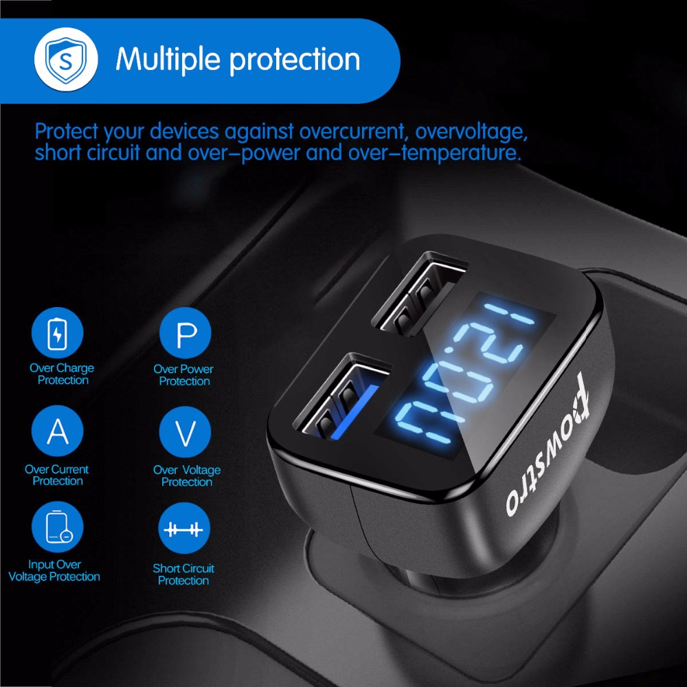 Powstro Dual Usb 4.8a Car Charger Smart Charging Support To Recharger Various Devices For Iphone Samsung For Xiaomi For Ipad Ect Cellphones & Telecommunications Car Chargers