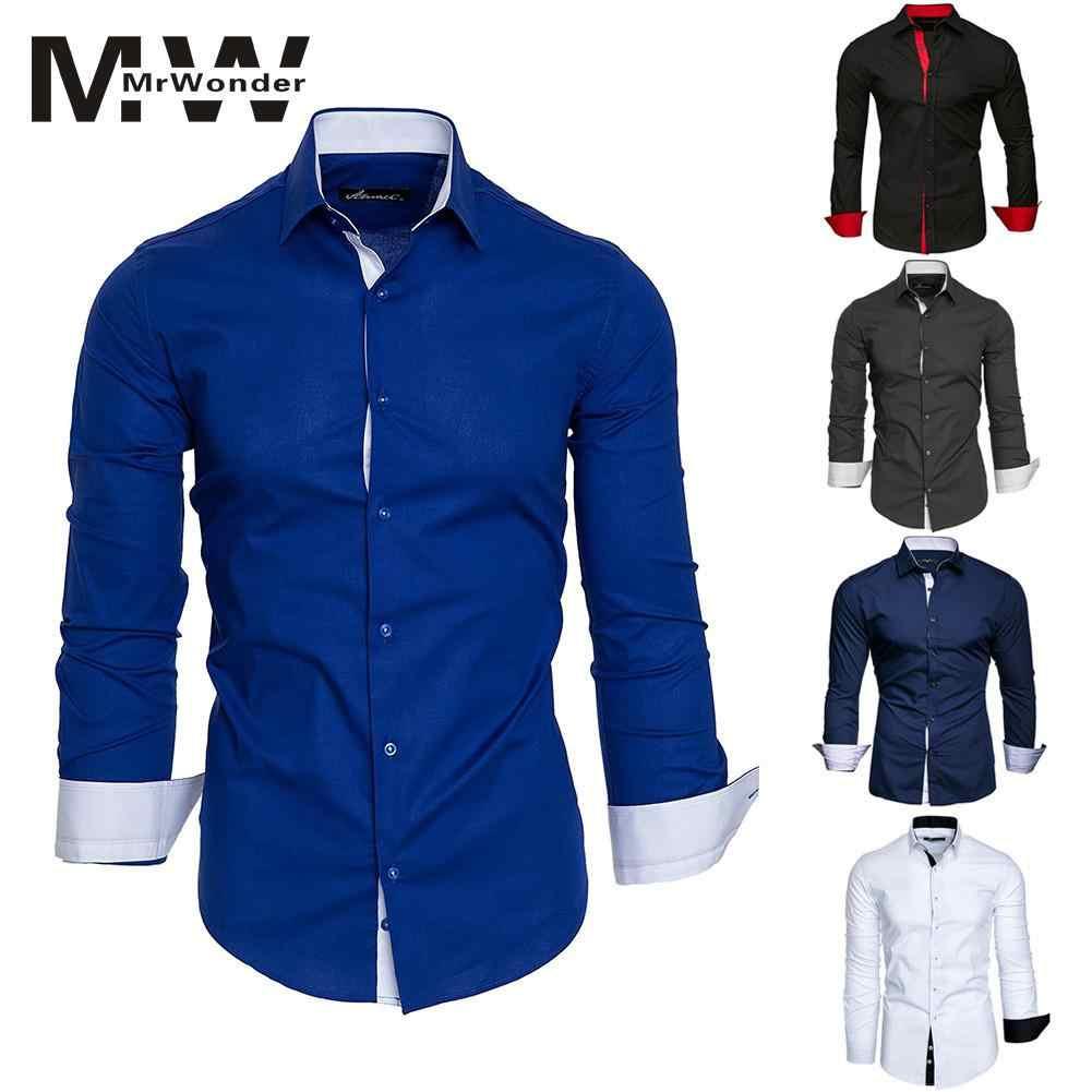 ヒットの因果スリムシャツ白青スマート因果シャツ男性 2018 もみじニュー長袖男性シャツより色 San0