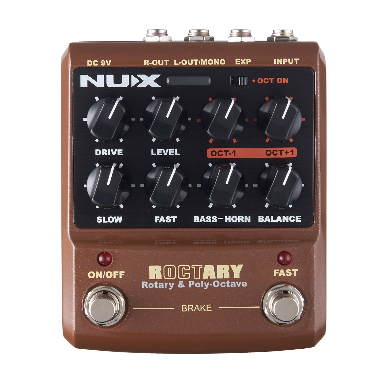 NUX Roctary Force Octave Rotary Guitar Effect Pedal Cabin Simulator TSAC Technology L/Mono and R Output Built-In Overdrive nux roctary force simulator polyphonic octave stomp boxes electric guitar effect pedal fet buttered tsac true bypass