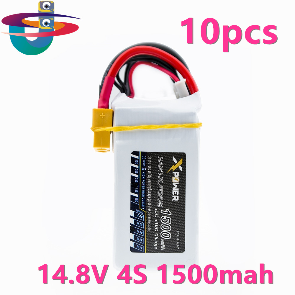 10pcs 1500Mah 14.8V 4S 45C Lithium Li-po Battery XT60 Plug For RC Helicopter Qudcopter Drone Truck Car Boat Bateria 1pcs 1500mah 14 8v 4s 45c li po battery xt60 plug for rc helicopter qudcopter drone truck car boat