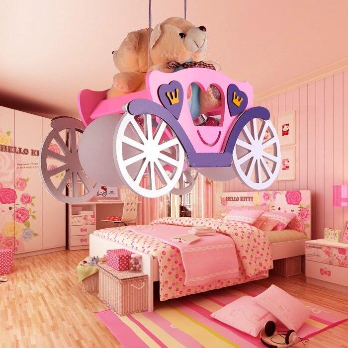 kindergarten Bear car Modern children room pendant lights boy girl bedroom wood+glass lampshade pink/ blue pendant lamps