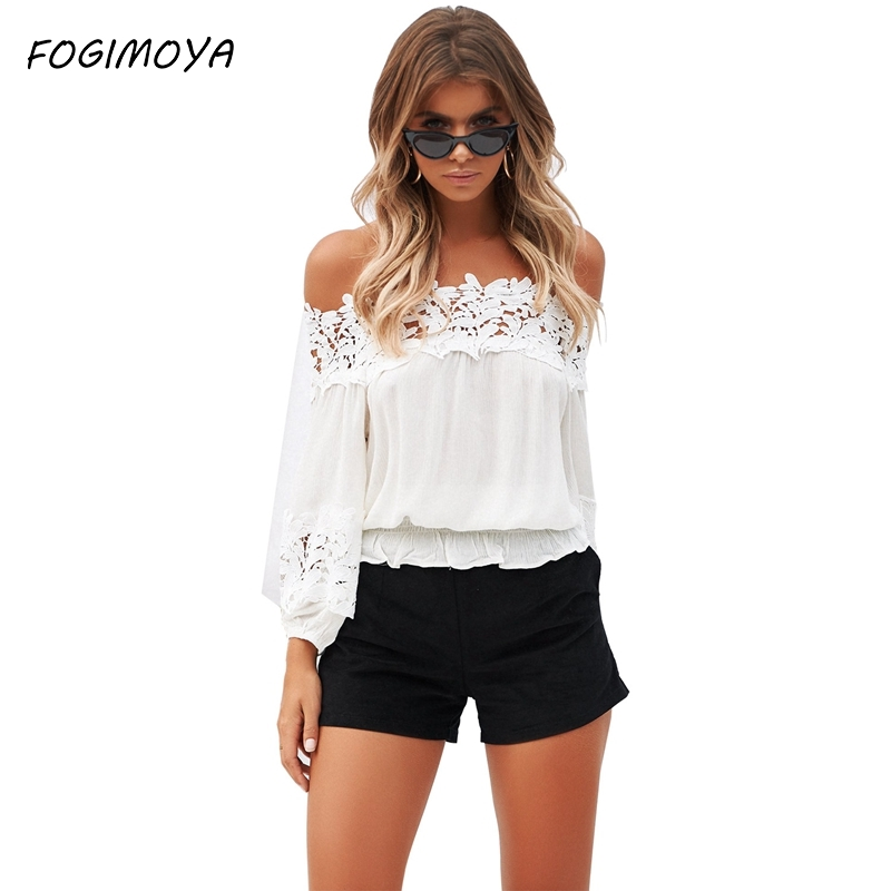FOGIMOYA 2018 Lace Blouse European and American Style Lace Stitching Word Collar Strapless Loose Long-Sleeved Shirt Women