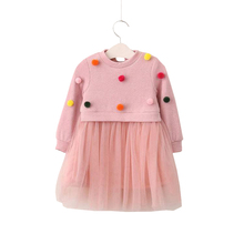 Baby Girl Tulle Tutu Dress Children Party Princess Dresses Long Sleeve Thickened Knitting Costume Toddler Patchwork Clothing(China)