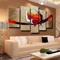 Handgemalte warme familie paar Ölgemälde Abstrakte Moderne Leinwand Wandkunst liebevolle papa und mama rotes herz schlafzimmer Dekor bild