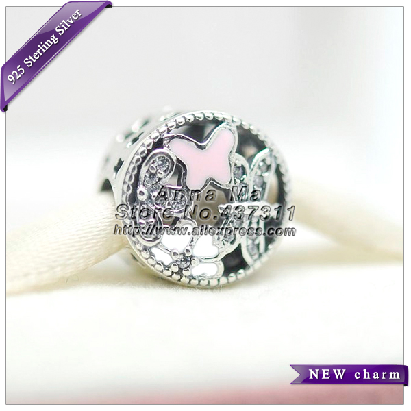 2016 S925 Sterling Silver Springtime Charm with White Pink Enamel and Clear CZ Clip Beads Fit