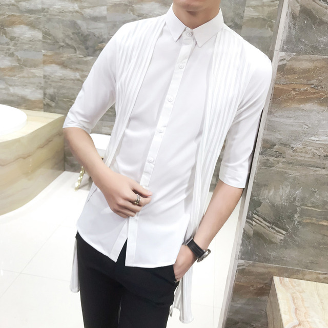 c97ad8b83bb High Quality Tuxedo Shirt Summer Slim Fit Personality Patchwork Mens Dress  Shirts Half Sleeve Casual Hairstylist