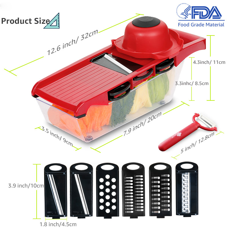 6-in-1 Mandoline Slicer and Vegetable/Fruits Cutter with Steel Blade as Kitchen Accessories 5