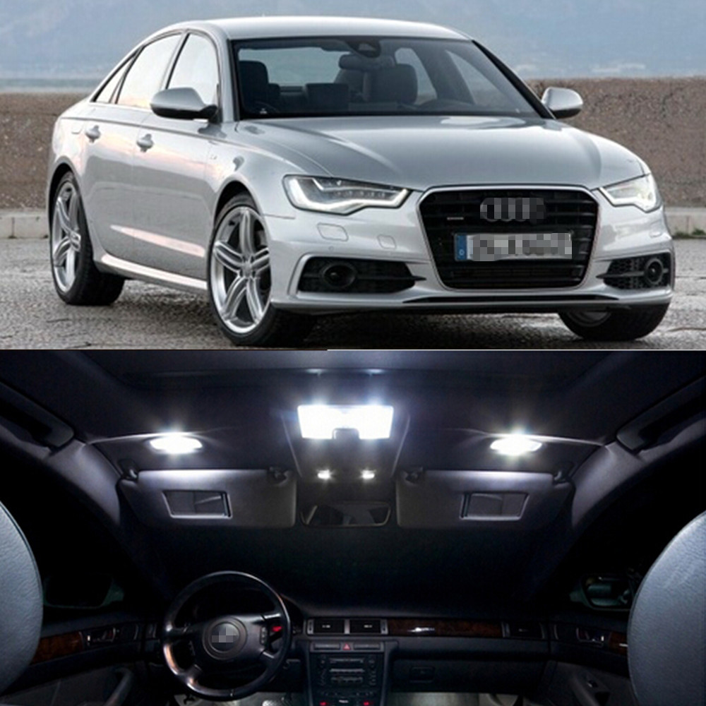 9pcs per set LED Bulb Interior Dome Map trunk Vanity mirror glove box Lights Package Kit For Audi new A6 2012 Car Styling super bright car styling 9pcs car led kit interior glove box light for 2014 2015 kia sorento trunk dome map license plate lights