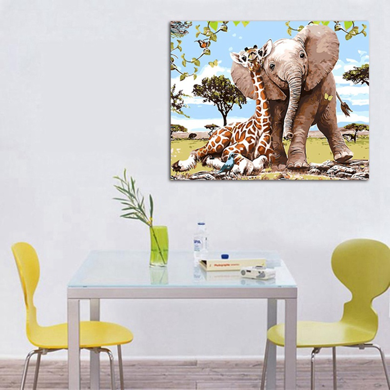 Frameless Elephant Giraff Painting By Numbers Modern Wall Art Picture Paint By Numbers Unque Gift For Home Decor african elephant
