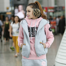 Autumn&Winter Women Fashion Leisure Motion Wear Long Pants Cost Vest Sweater Three Piece Tracksuit M-XXL Thick vs pink hoodies