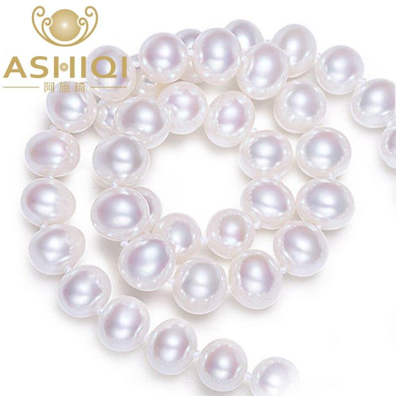 ASHIQI 9-10mm perles d'eau douce blanches 925 collier en argent sterling, bijoux de perles pour les femmes, meilleur cadeau