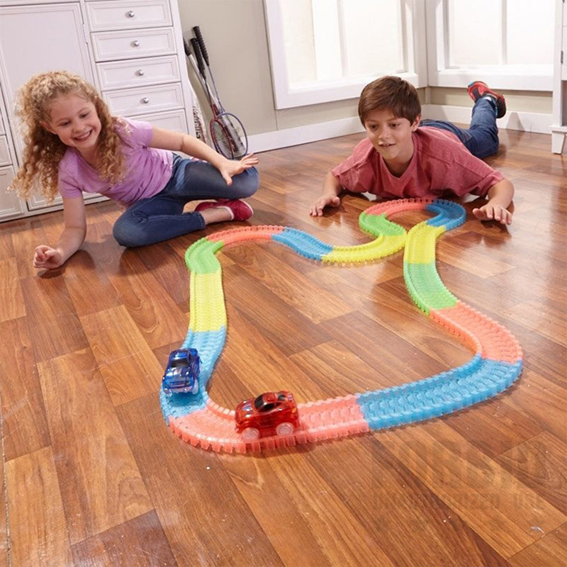 Miraculous Magic Glowing Race Track Bend Flex Flash in the Dark Assembly Car Toy Glow Racing Track Set For Kids Gifts