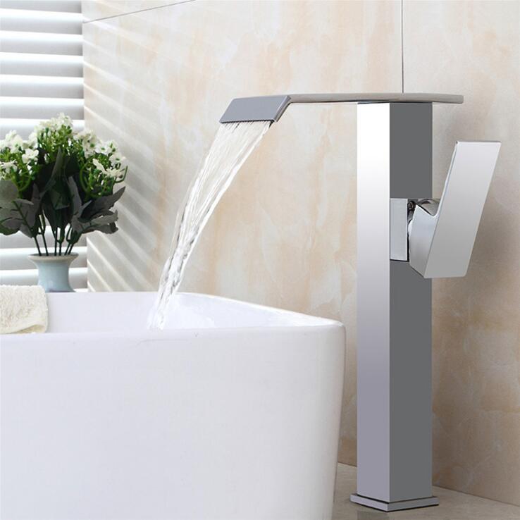 Новый Материал Латунь Chrome ванной горячей и холодной Однорычажный падения воды бассейна кран, смеситель для мойки бесплатная доставка