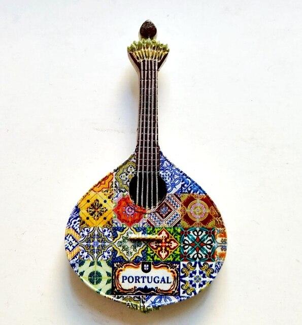 Imanes de nevera de resina 3D de guitarra de Portugal pintados a mano recuerdos de turismo refrigerador pegatinas magnéticas de regalo