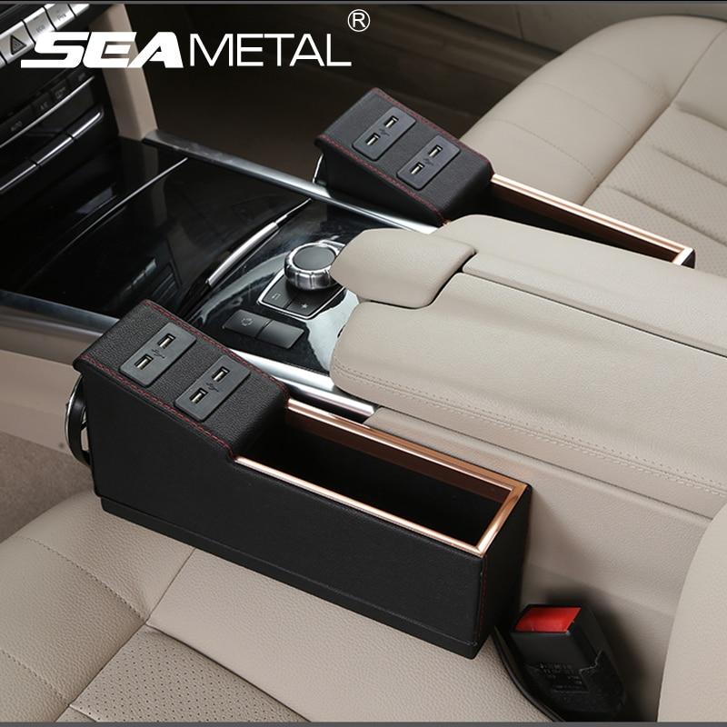 Car seat box crevice storage organizer usb charge multi for 4 box auto