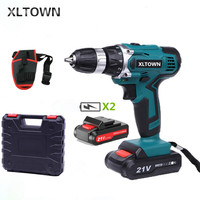 XLTOWN 21V electric screwdriver with 2 battery and a box hand drill rechargeable electric screwdriver cordless power tools