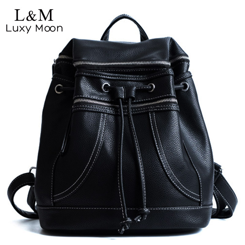 Black Backpack School Bags Solid Zipper Backpacks High Quality PU Leather Brand Bag Preppy Style Girl Bag 2017 Mochila XA1196H high quality pu leather backpack women bag fashion solid backpacks school bags famous brand travel backpack 2017 new shell bags