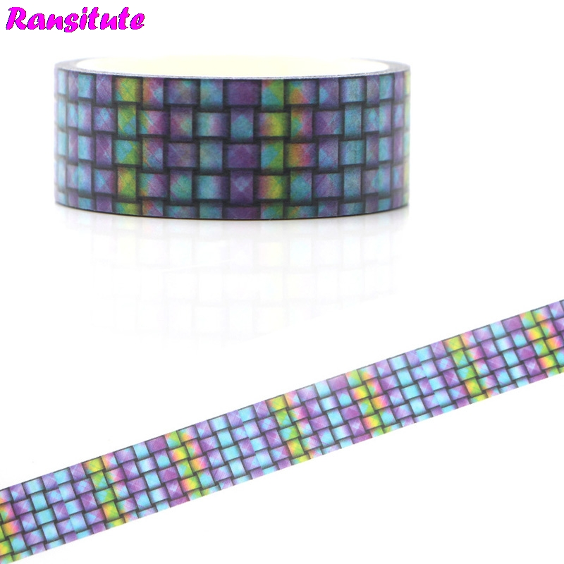 Ransitute R457 Weaving Style Color Washi Paper Tape Handmade DIY Decorative Paper Tape Color Tape Book Hand Account Sticker