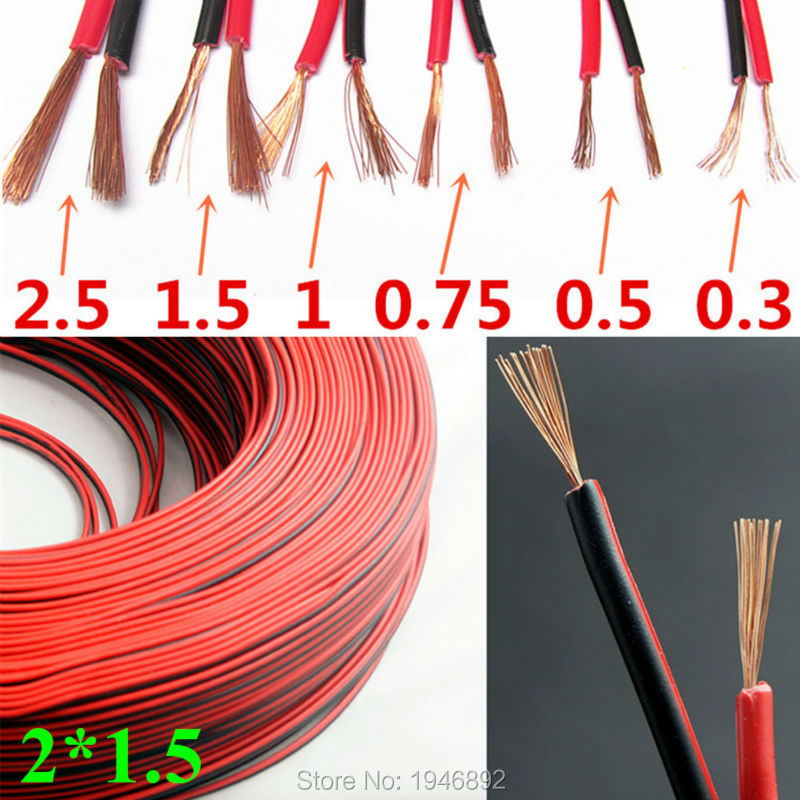 RVB-2*1.5mm Square Copper Red With Black Color Cable Parallel To The Outer Wire LED Speaker Cable Electronic Monitor Power Cord