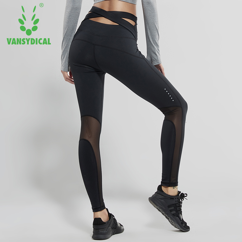 Vansydical Women Sexy Yoga Leggings Mesh High Waist Sports Pants Fitness Gym Pants Workout Running Tights Compression Leggings