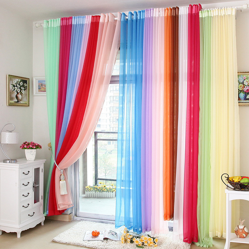 free shipping finished high quality solid multi color tulle sheer curtains for living room home