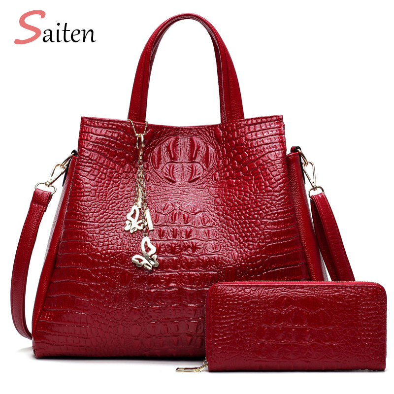 Fashion Crocodile Leather Handbags Women Shoulder Bags Solid Casual Tote Bag Ladies Large Capacity Handbag For Women Gift wallet
