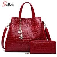 Fashion Crocodile Leather Handbags Women Shoulder Bags Solid Casual Tote Bag Ladies Large Capacity Handbag For Women Gift wallet